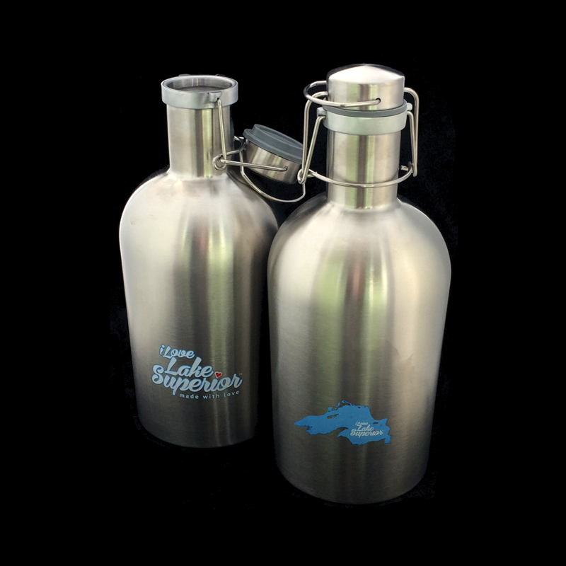 Stainless steel growlers with screen printing on sides.