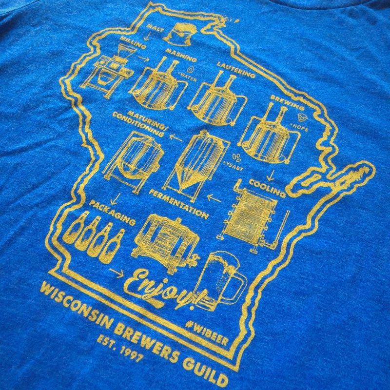 Graphic of the brewing process and an outline of the state of Wisconsin on a blue t-shirt.